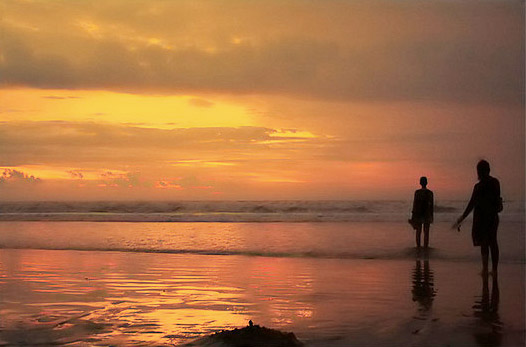 two alone - Kuta beach sunset