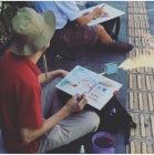 sketching di trotoar